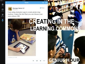 "Our LEARNING COMMONS is supported by a gifted Teacher-Librarian, and it's a place where teachers collaborate, and students create and connect with the world. Genius Hour says YES to student interests. A student told us ""You don't want to learn your teacher's passion, you want to learn your passion."""
