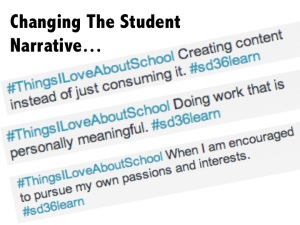 Imagine if we changed what we did in schools and that changed the student narrative. Instead of THINGS I HATE ABOUT SCHOOL trending, students would tweet that they LOVE to create, do work that matters, and follow their passions. Imagine!